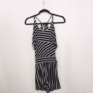 Arden B Pants - Arden B. Black and White Striped Romper
